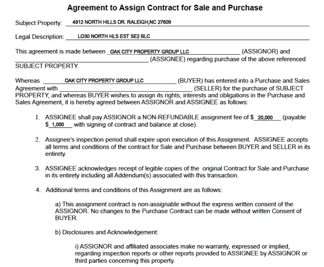 Contract Assignment Form